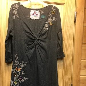 Very soft gray Johnny was dress with embroidery